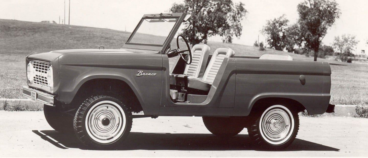 Black and White 1966 Ford Bronco