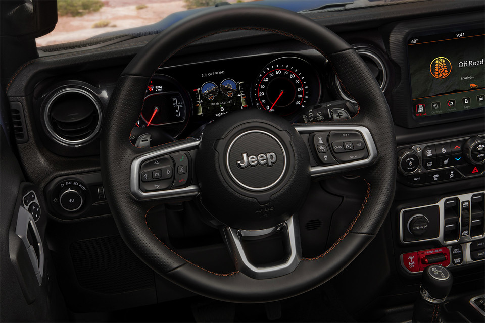 2021 Jeep Wrangler interior of the dashboard and steering wheel